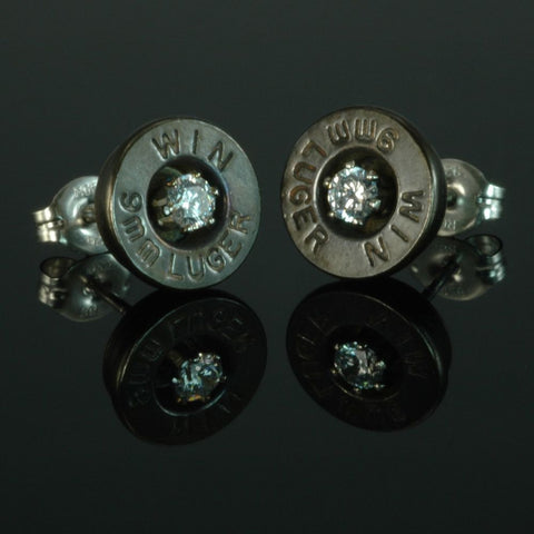 9mm Luger Bullet Earrings, Brass Patina with Cubic Zirconia