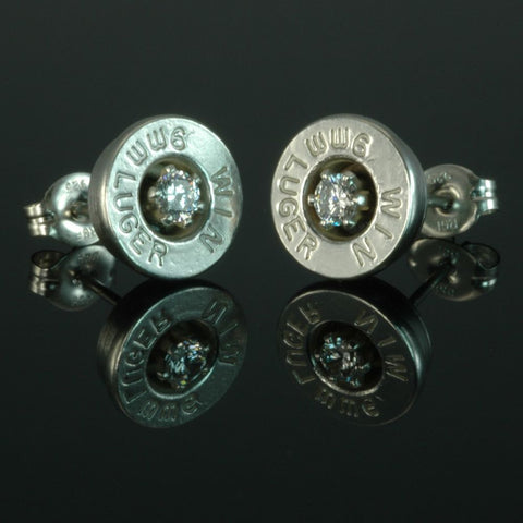 9mm Luger Bullet Earrings, Silver Plated with Cubic Zirconia