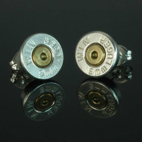 9mm Luger Bullet Earrings, Silver Plated with Brass Primer