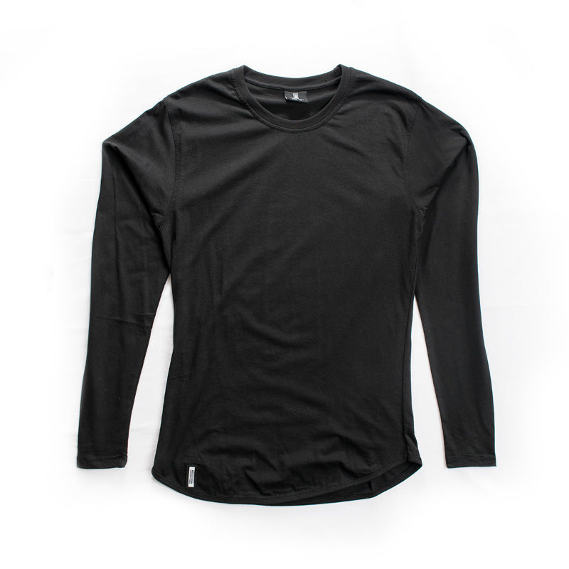 Curved Hem Long Sleeve Black