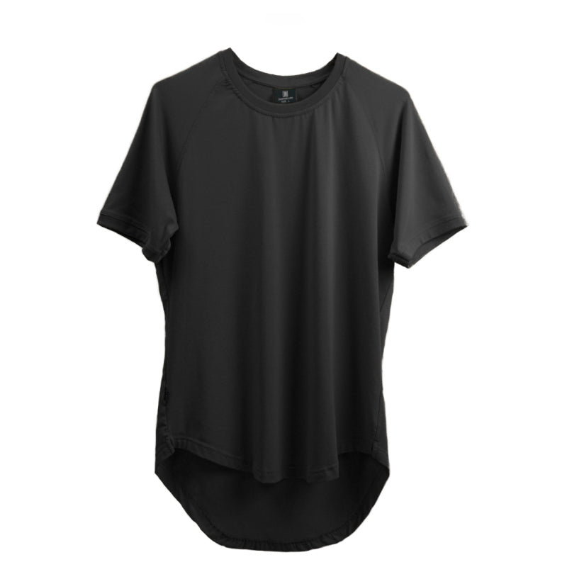 Curved Scoop Hem Tee Black