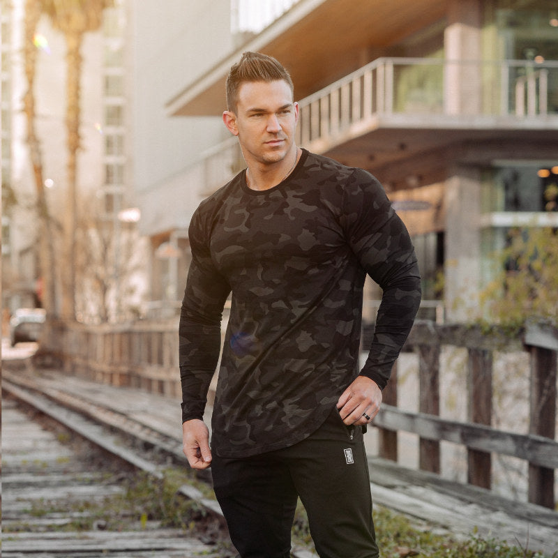 Curved Slit Hem Long Sleeve Camo