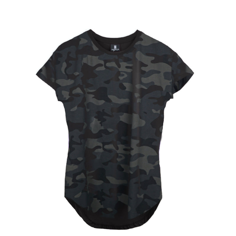 SCOOP SHOULDER HEM TEE CAMO