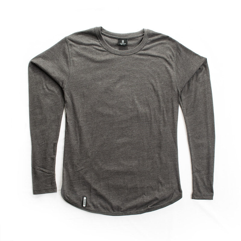 Curved Hem Long Sleeve Charcoal