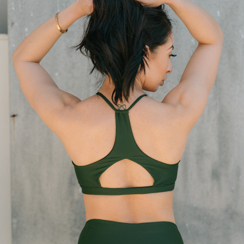 Cinched Halter Crop Forest Green