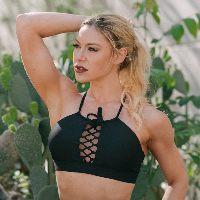 Cinched Halter Crop Midnight
