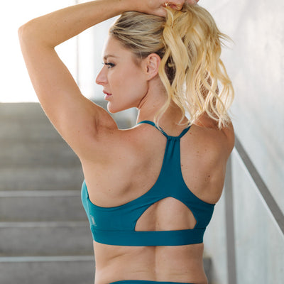 Cinched Halter Crop Sea Blue