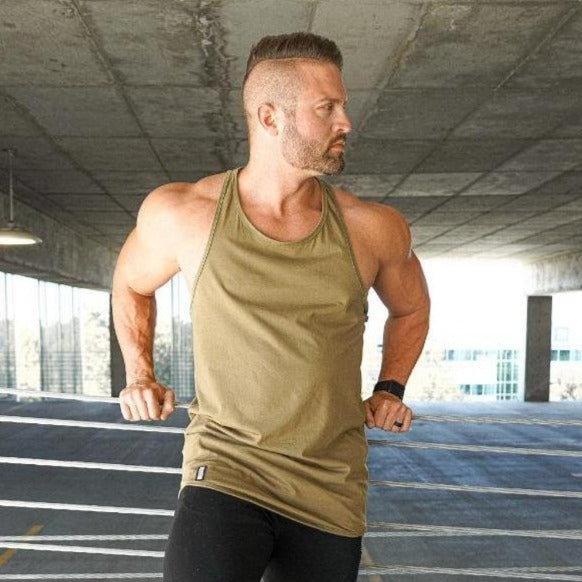 Curved Hem Stringer Khaki Green