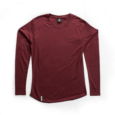 Curved Hem Long Sleeve Burgundy