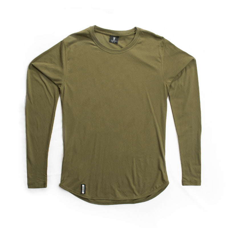 Curved Hem Long Sleeve Khaki Green