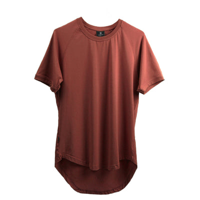 Curved Scoop Hem Tee Marsala