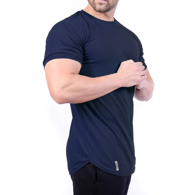 Curved Hem Tee Midnight Blue