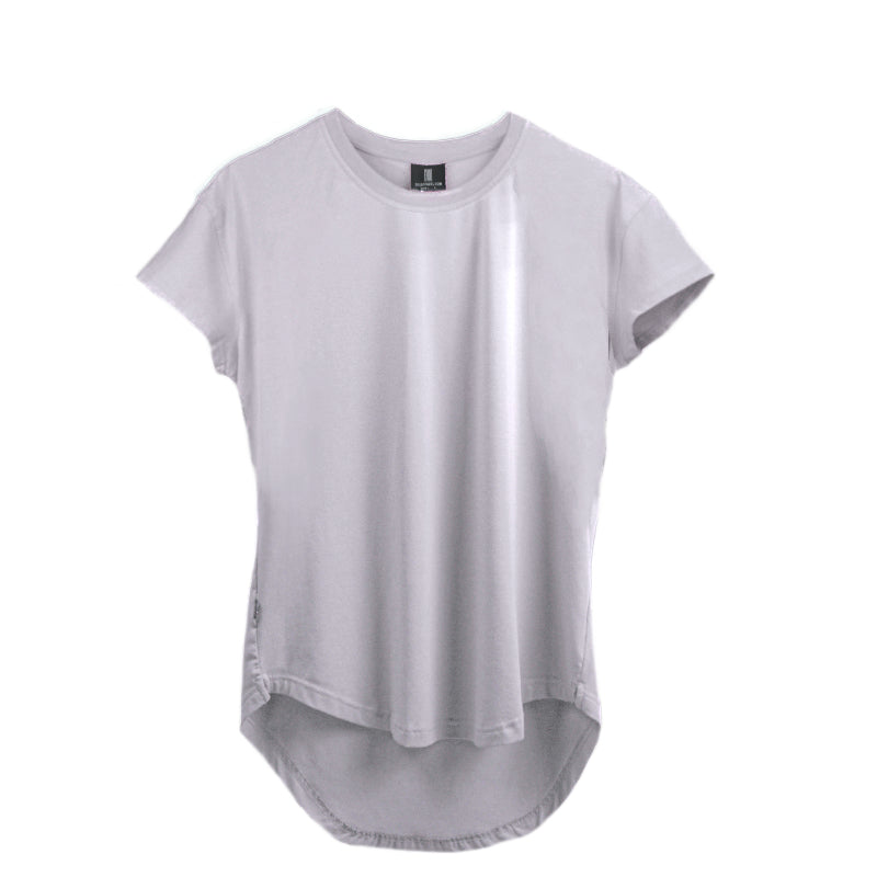 Scoop Shoulder Hem Tee White