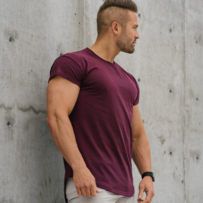 Scoop Shoulder Hem Tee Merlot