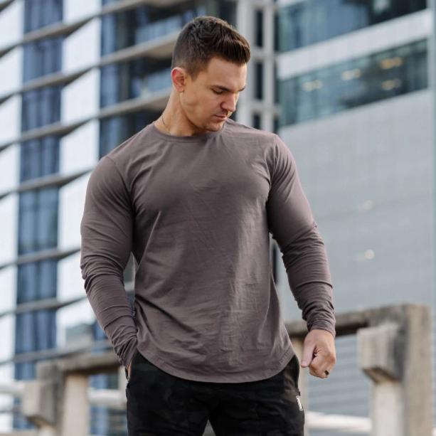 Curved Slit Hem Long Sleeve Slate