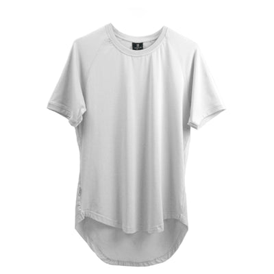 Curved Scoop Hem Tee White