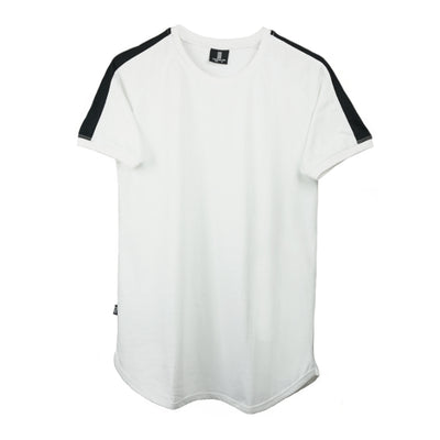 Stripe Curved Hem Tee White/Black