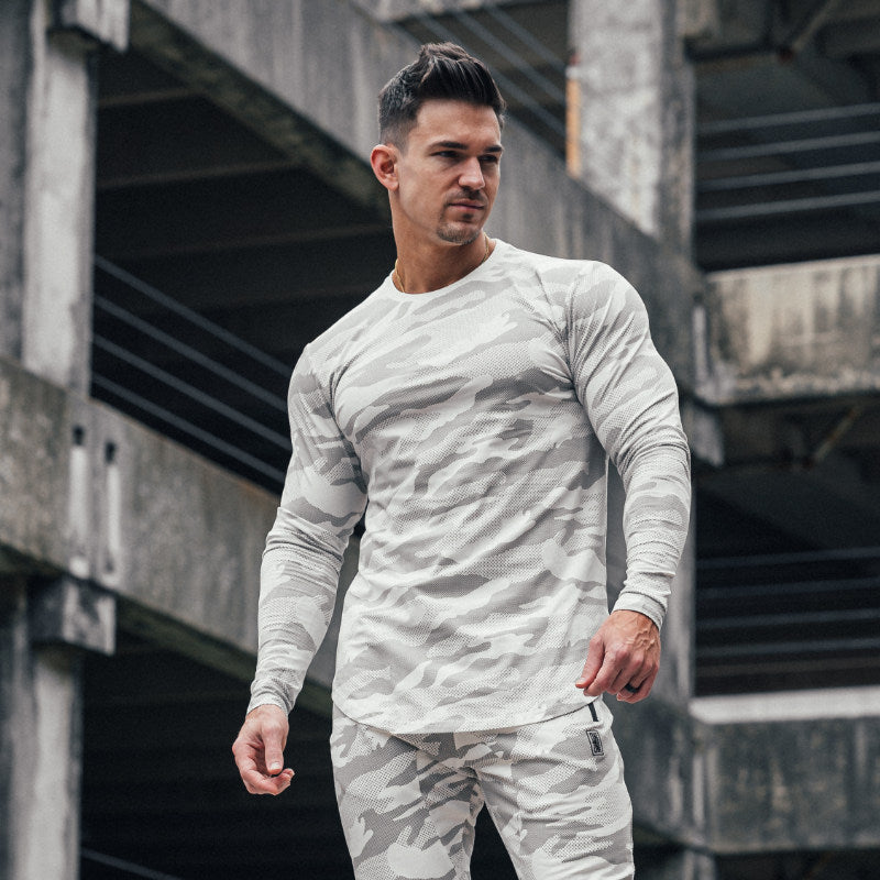 Scoop Hem Long Sleeve White Camo