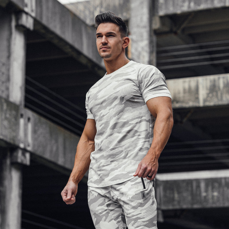 Curved Scoop Hem Tee White Camo