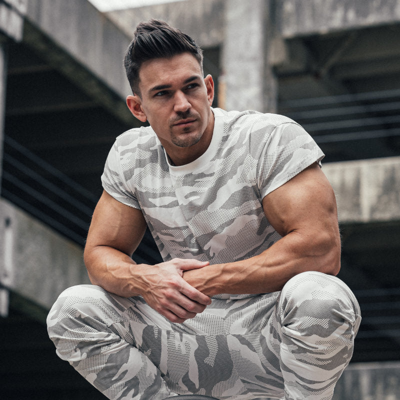 Scoop Shoulder Hem Tee White Camo