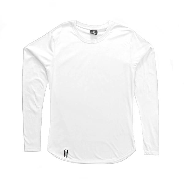 Curved Hem Long Sleeve White