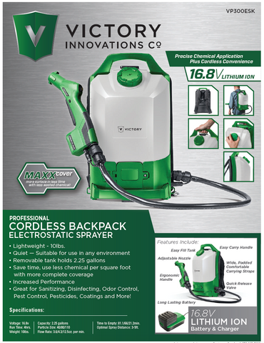 Victory Electrostatic Cordless Backpack Sprayer VP300ESK