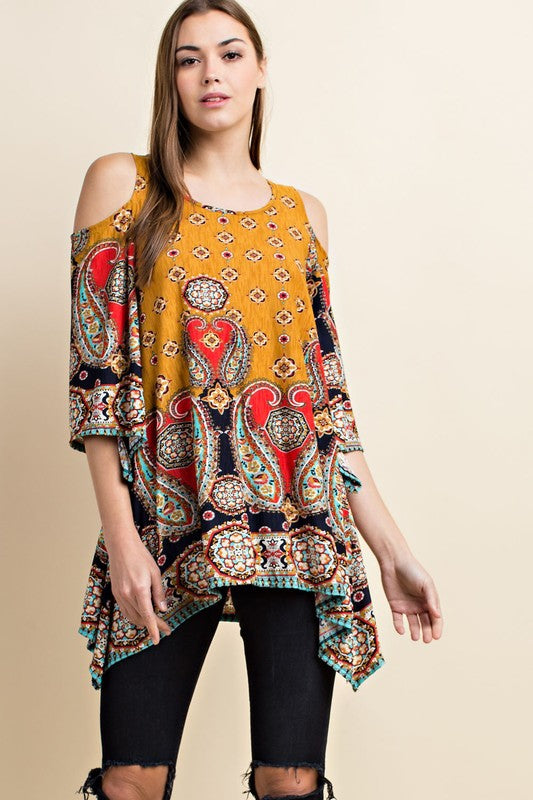 Going My Own Way Tunic in Mustard - Curvy - MIA Boutique LLC