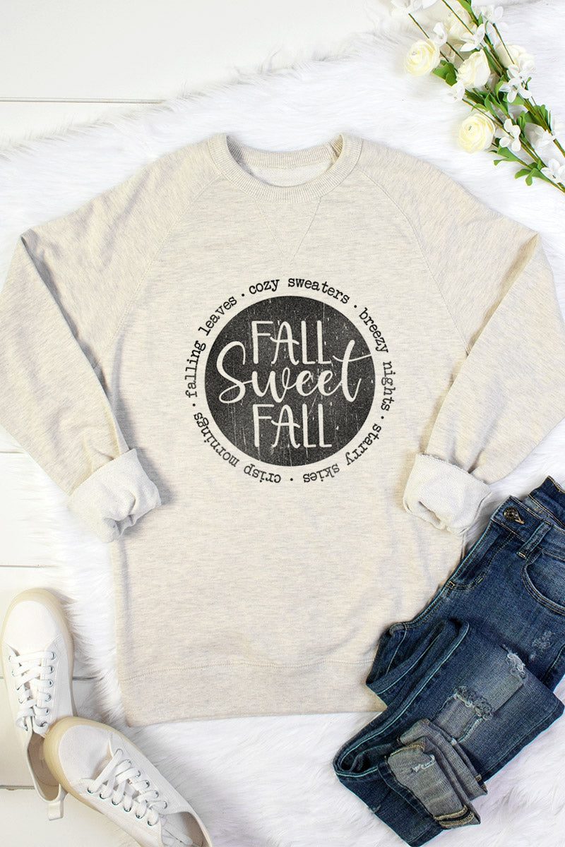 Fall Sweet Fall French Terry Sweatshirt in Oatmeal