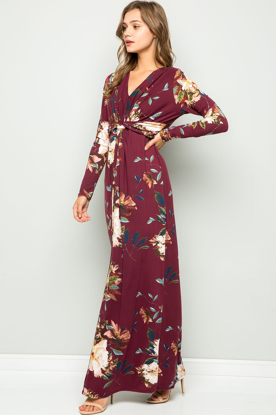 Better Than Ever Floral Maxi Dress in Burgundy - Curvy - Dress - MIA Boutique LLC