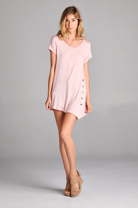 Cute as a Button Tunic in Pink - Top - MIA Boutique LLC