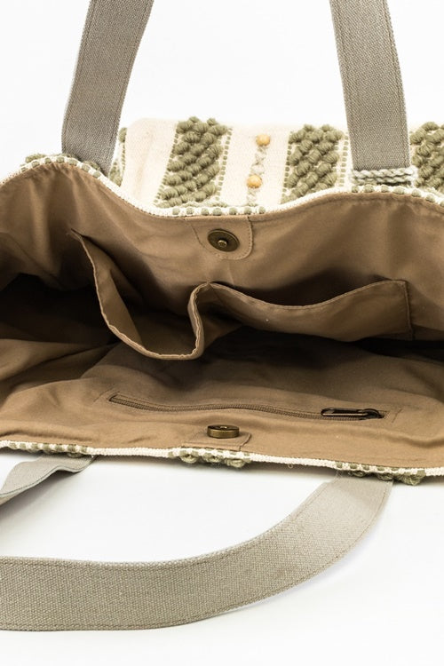 Freeport Woven Tote in Light Olive - MIA Boutique LLC