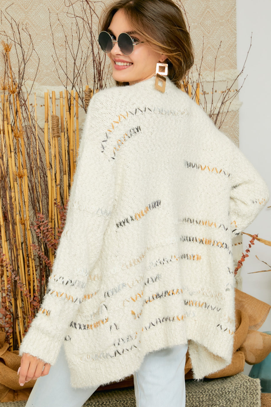 Let's Curl Up Together Cardigan in Ivory