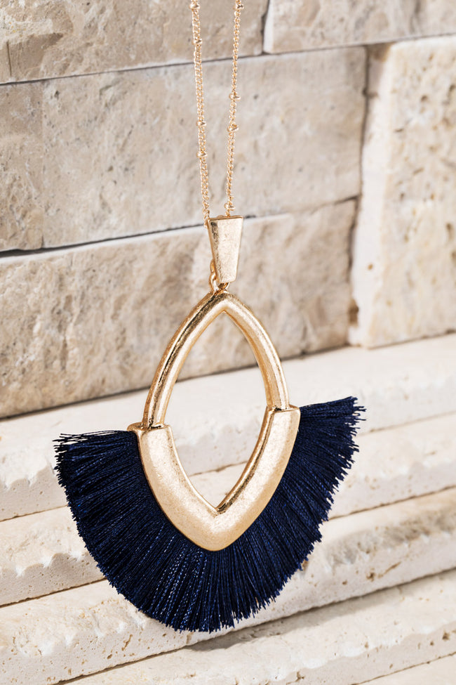 Need You Now Tassel Necklace in Navy - Accessory - MIA Boutique LLC