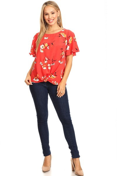 Sweet Caroline Floral Blouse in Coral - Top - MIA Boutique LLC