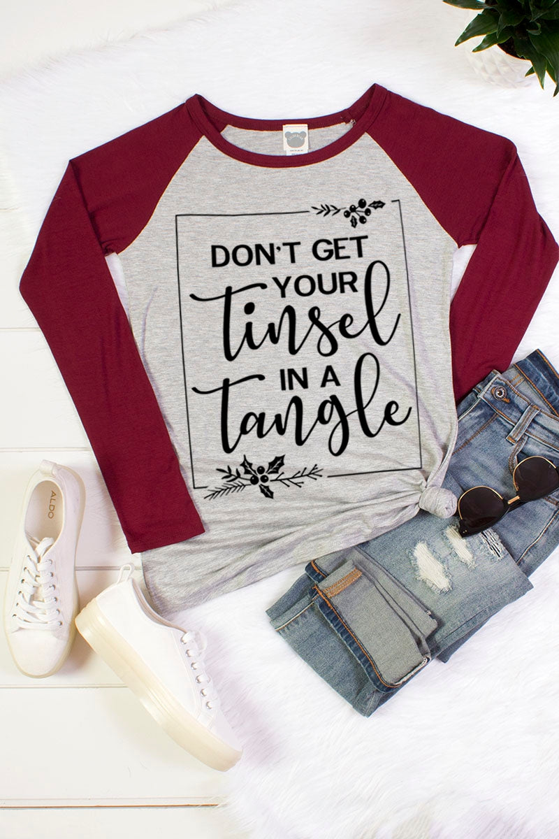 Tinsel in a Tangle Raglan Tee in Burgundy - Top - MIA Boutique LLC