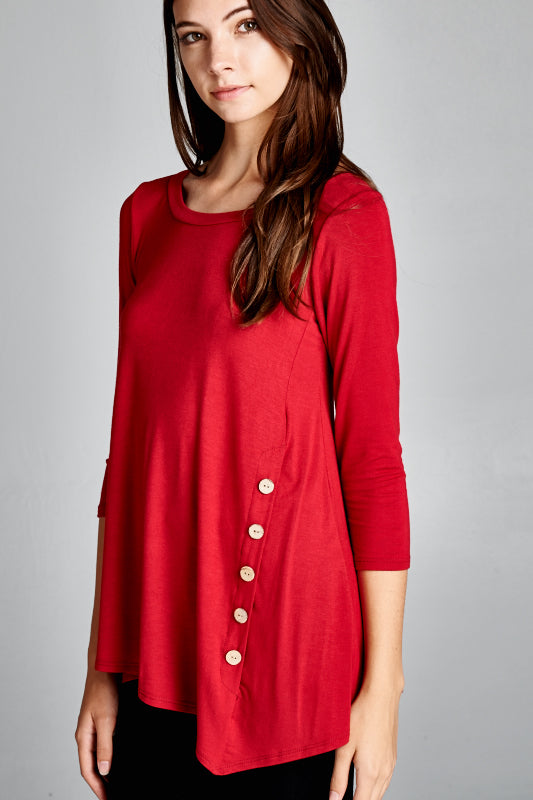 On The Button Tunic in Cranberry - Top - MIA Boutique LLC