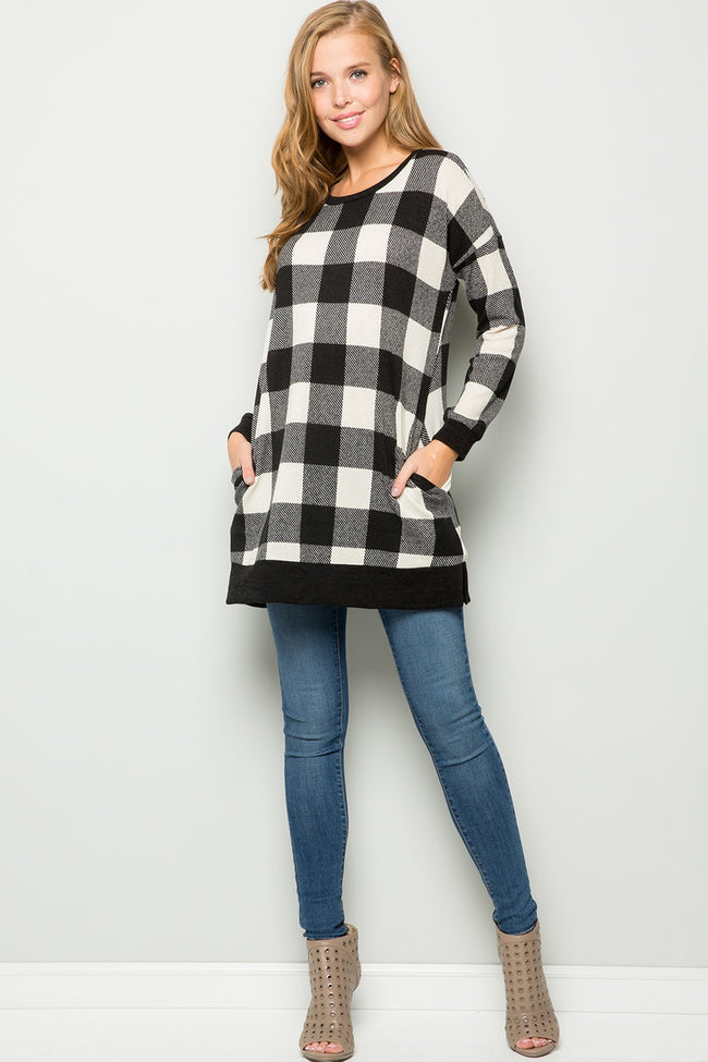 Weekend State of Mind Tunic in Black and White