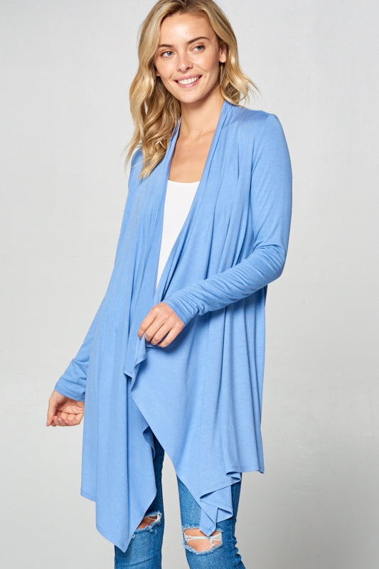 On The Mark Cascade Cardigan in Light Denim - Curvy - Top - MIA Boutique LLC