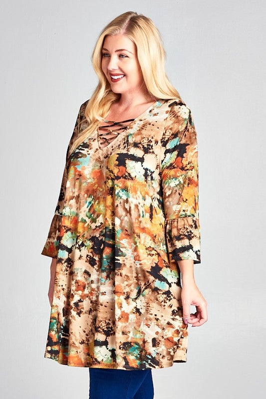 Peace, Love, and Boho Tie Die Tunic Dress in Mocha - Curvy - Dress - MIA Boutique LLC