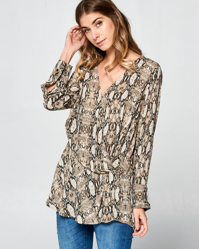The Charmer Snake Print Blouse - MIA Boutique LLC