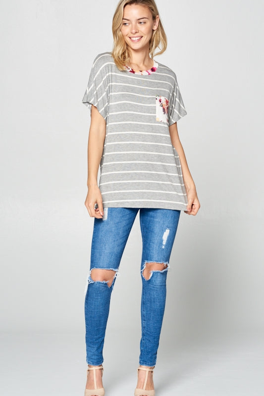 Vision in Stripe Top in Heather Grey - Curvy - Top - MIA Boutique LLC