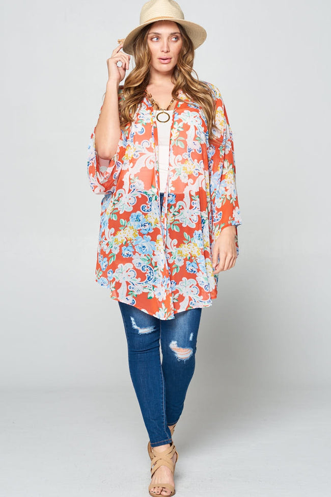 Big on Dreaming Floral Kimono - Curvy - MIA Boutique LLC