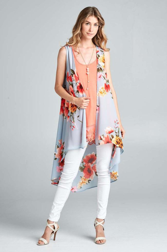 Talk of the Town Floral Vest - MIA Boutique LLC