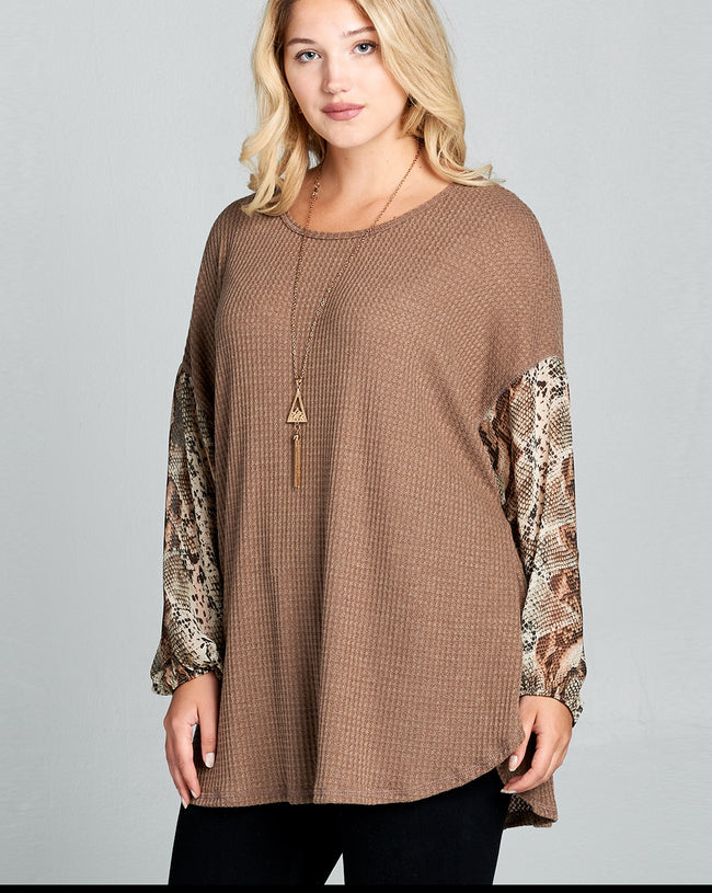 Rule Breaker Poof Sleeve Tunic - Curvy - Top - MIA Boutique LLC