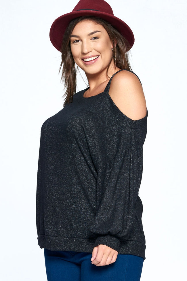 Cue the Lights Asymmetrical Neckline Top in Black - Curvy - Top - MIA Boutique LLC