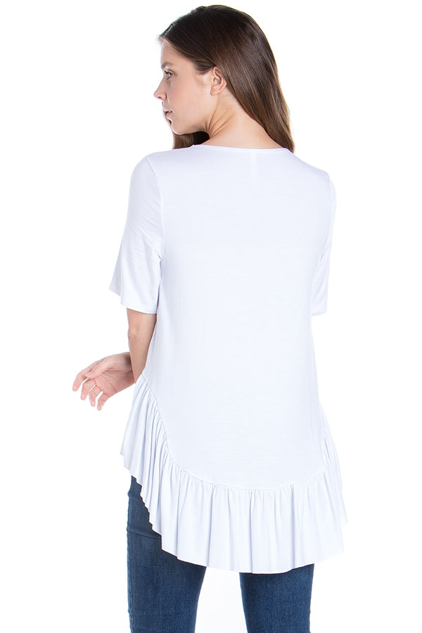 Frilly Fun Top in White - MIA Boutique LLC