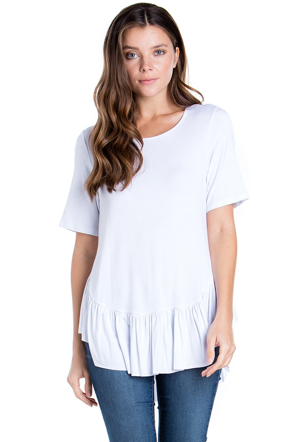 Frilly Fun Top in White - Top - MIA Boutique LLC