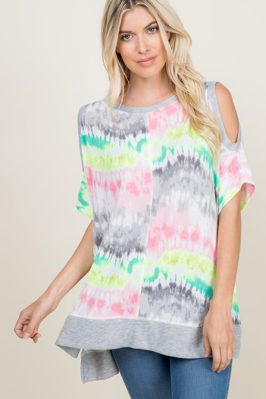 Daydream Believer Tie Dyed Cold Shoulder Tunic - Top - MIA Boutique LLC