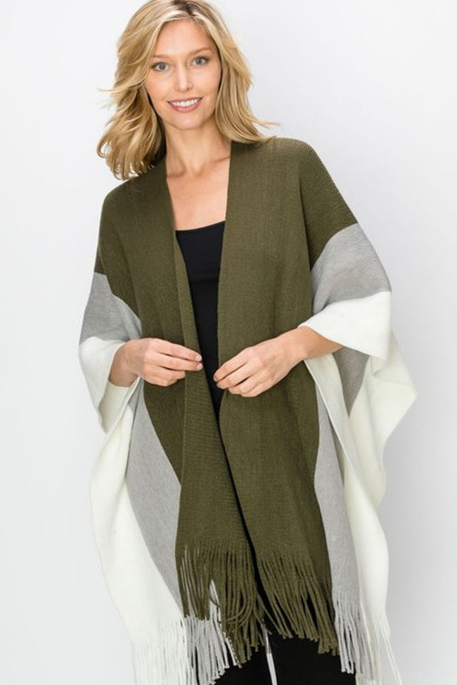 First Impressions Color Block Wrap in Olive - Top - MIA Boutique LLC