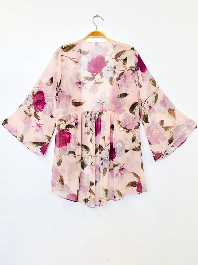 Feeling Hopeful Floral Kimono in Cloud Pink - Give Back Item - Top - MIA Boutique LLC